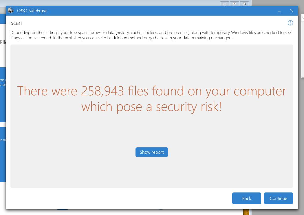 258 943 filer som utgjør en sikkerhetstrussel? Tror ikke det …