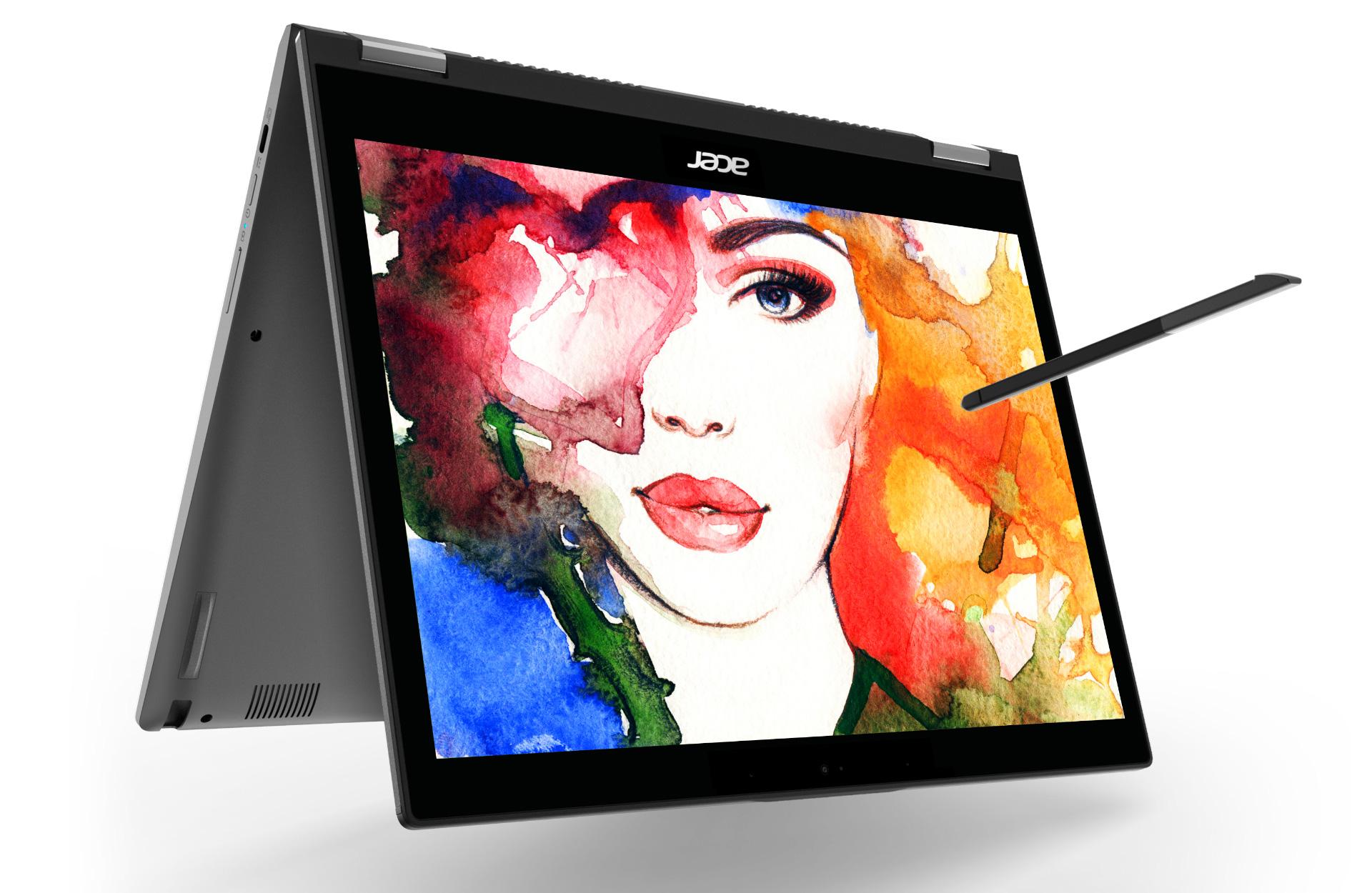 Chromebook Spin kan settes på høykant, og det følger også med en penn.